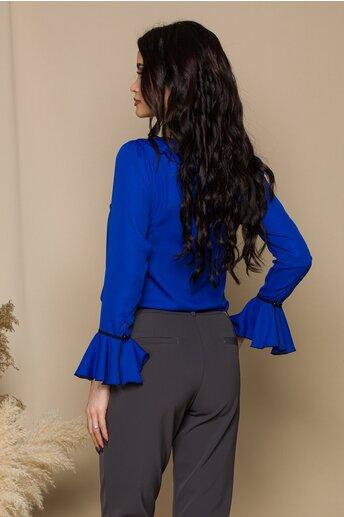 Bluza Miruna albastra accesorizata cu volanase si snur negru