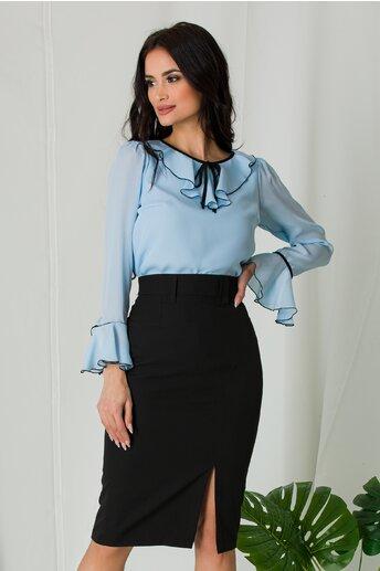 Bluza Miruna bleu accesorizata cu volanase si snur negru