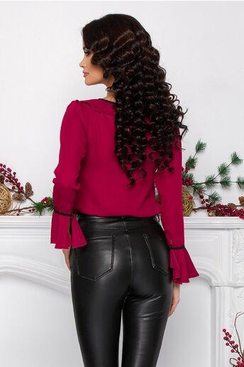 Bluza Miruna bordo accesorizata cu volanase si snur negru