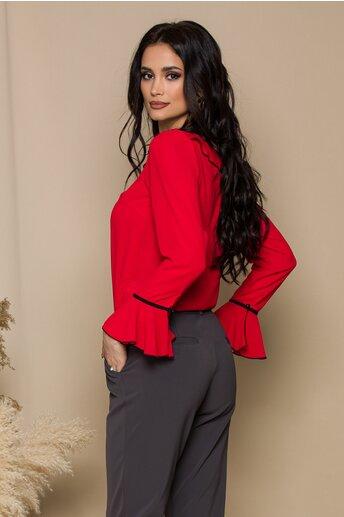 Bluza Miruna rosie accesorizata cu volanase si snur negru