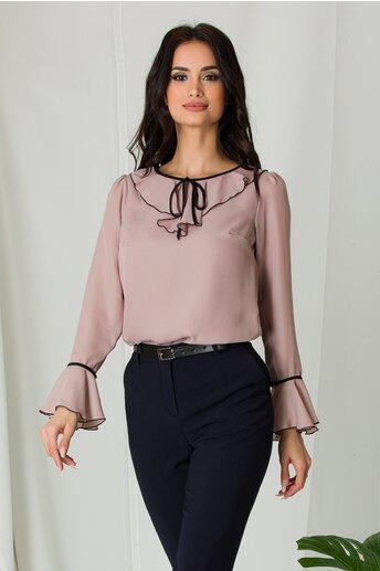 Bluza Miruna taupe accesorizata cu volanase si snur negru