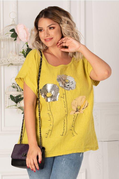 Bluza Moira galben cu imprimeu metalizat pe bust