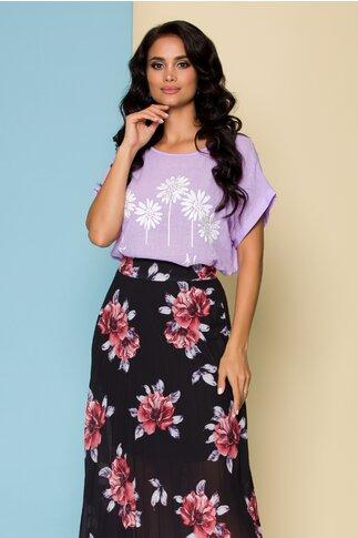 Bluza Moira mov cu imprimeu floral si mesaj