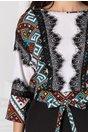 Bluza Moze alba cu imprimeu etno si maneci raglan