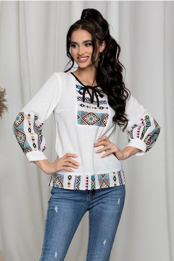 Bluza Moze alba cu imprimeu traditional colorat