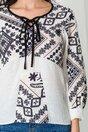 Bluza Moze alba cu imprimeuri gri