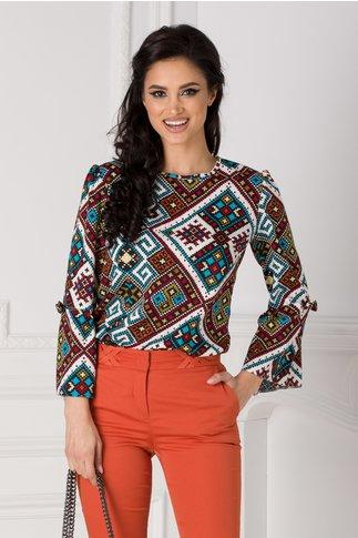 Bluza Moze cu imprimeu multicolor si funda la maneci
