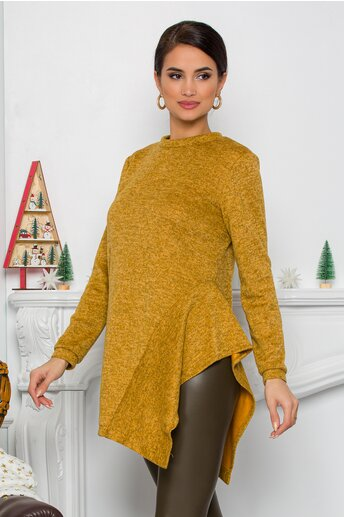 Bluza Moze galbena cu design in colturi la baza
