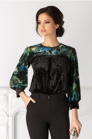 Bluza Moze neagra cu print floral verde