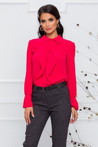 Bluza Moze rosie accesorizata cu volanase