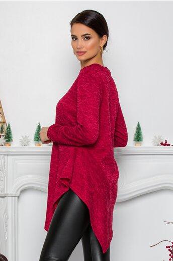 Bluza Moze rosie cu design in colturi la baza