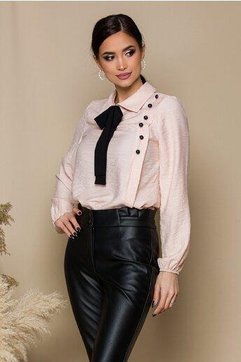 Bluza Moze roz cu funda si nasturi decorativi