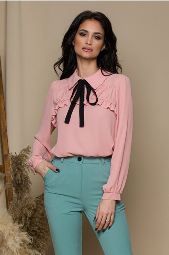 Bluza Moze roz cu volane si funda la bust