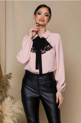 Bluza Moze roz pudra cu volanase din dantela si funda la bust