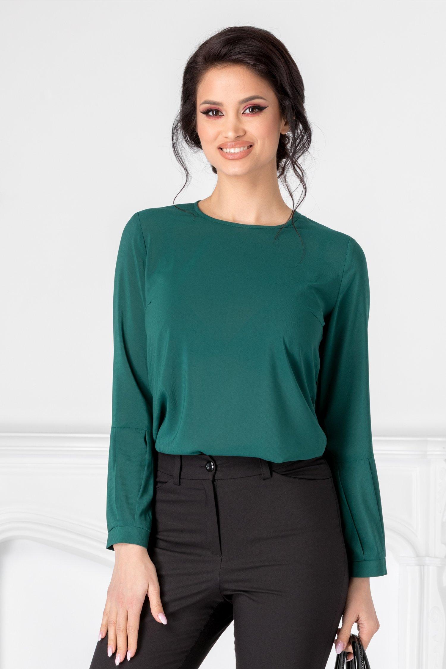 Bluza Moze verde cu mansete speciale
