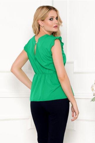 Bluza Moze verde cu volanase la bust si peplum