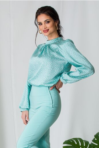 Bluza Moze verde mint cu buline