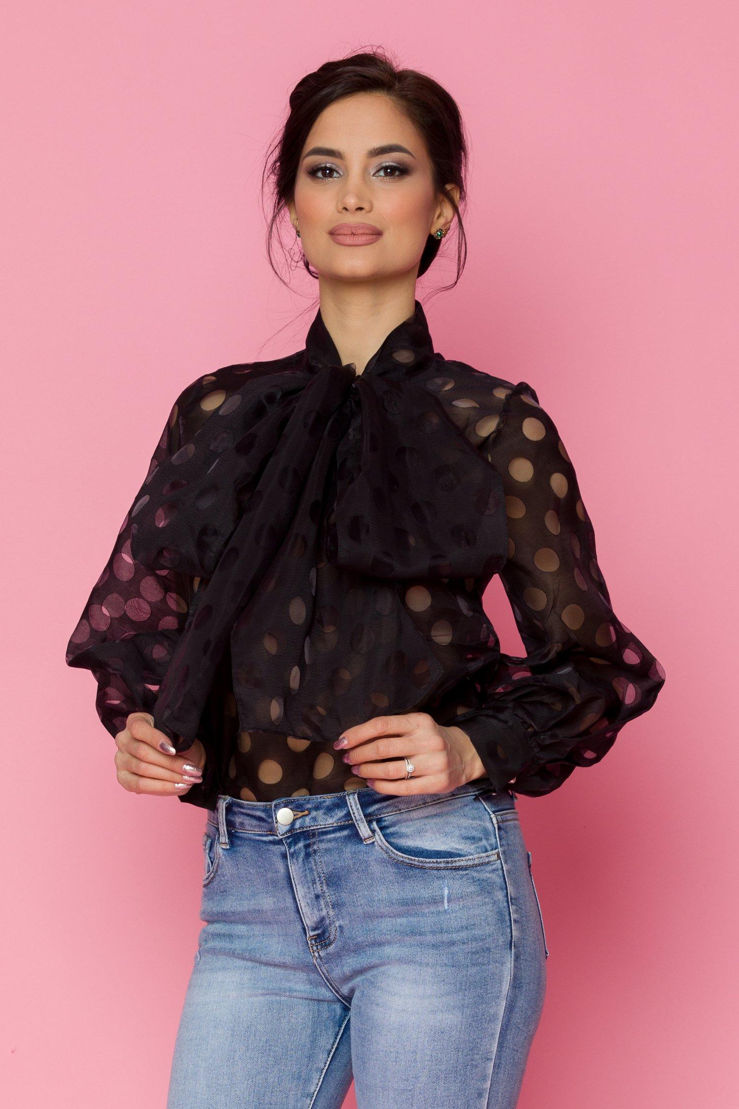 Bluza Myria din voal neagra cu buline transparente