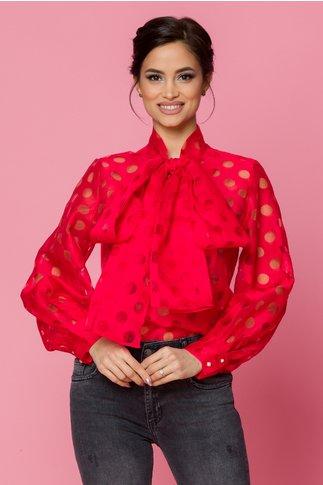 Bluza Myria din voal rosie cu buline transparente
