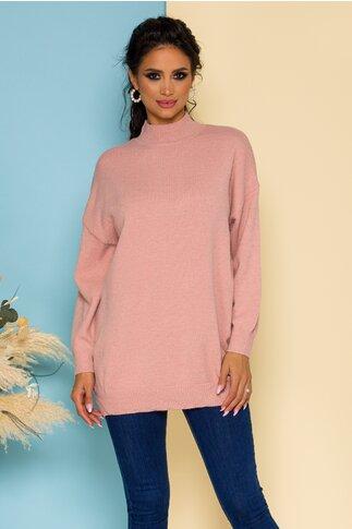 Bluza Nadia lunga tricotata roz pudrat