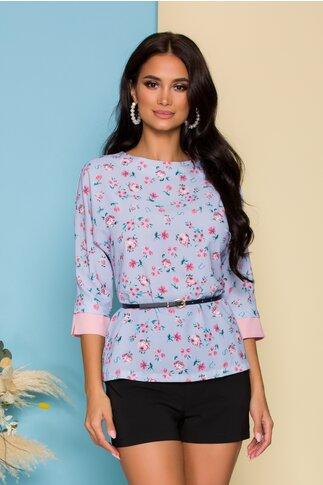 Bluza Nadine bleu cu imprimeuri florale roz