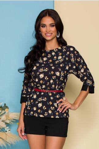Bluza Nadine neagra cu imprimeuri florale galbene