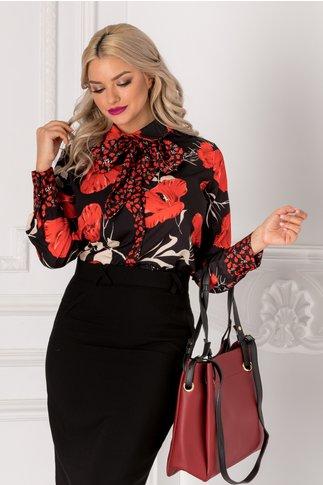 Bluza neagra cu imprimeu floral rosu si fundita la gat