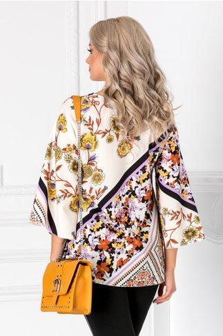 Bluza ivoire cu imprimeuri florale lila