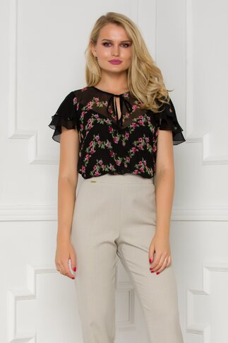 Bluza neagra Ginette cu trandafiri imprimati