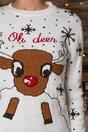 Bluza Oh Deer alba cu imprimeu de iarna