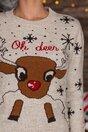 Bluza Oh Deer bej cu imprimeu de iarna