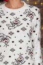 Bluza Olaf alba cu imprimeu de iarna