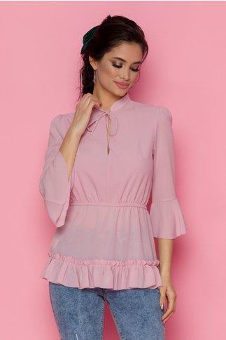 Bluza Onixa roz cu peplum si elastic in talie