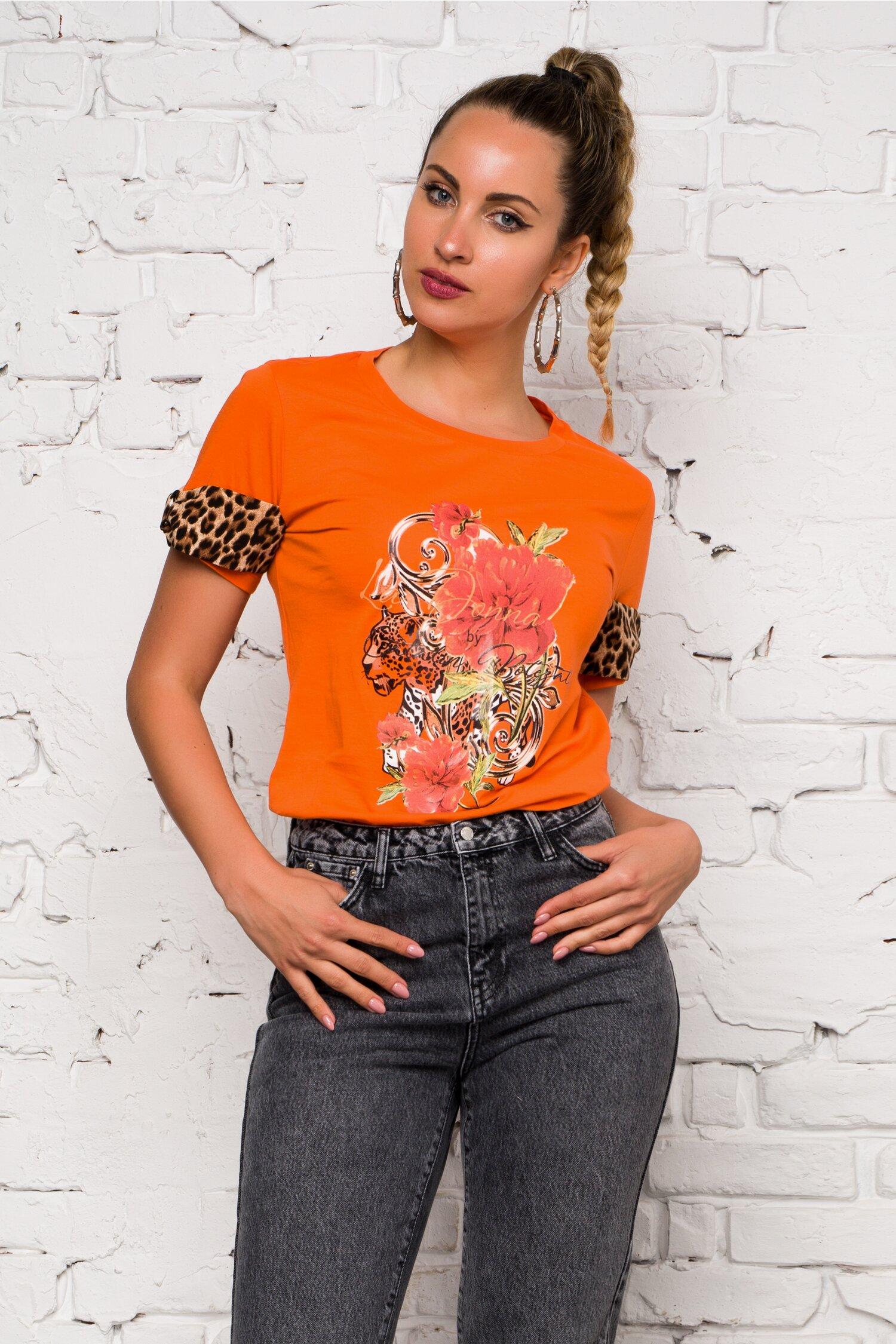 Bluza orange LaDonna by Catalin Botezatu cu imagine imprimata