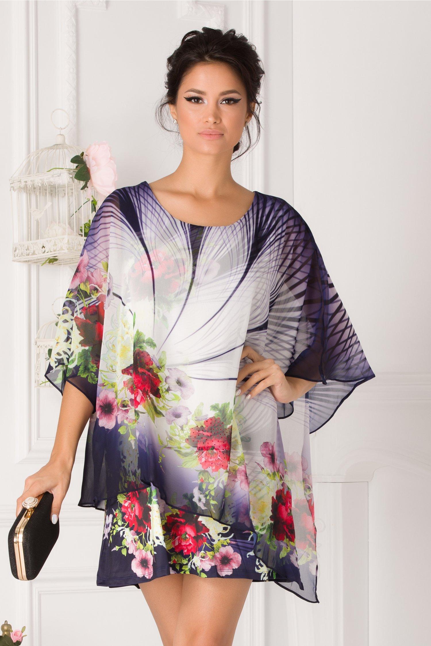 Bluza over size tip rochie alb-bleumarin cu imprimeu floral