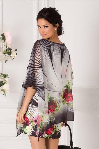 Bluza over size tip rochie alb-negru cu imprimeu floral