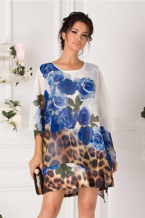 Bluza over size tip rochie alba cu trandafiri albastri