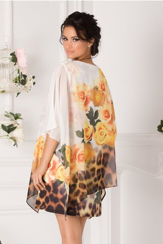 Bluza over size tip rochie alba cu trandafiri galbeni