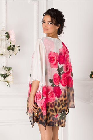 Bluza over size tip rochie alba cu trandafiri roz