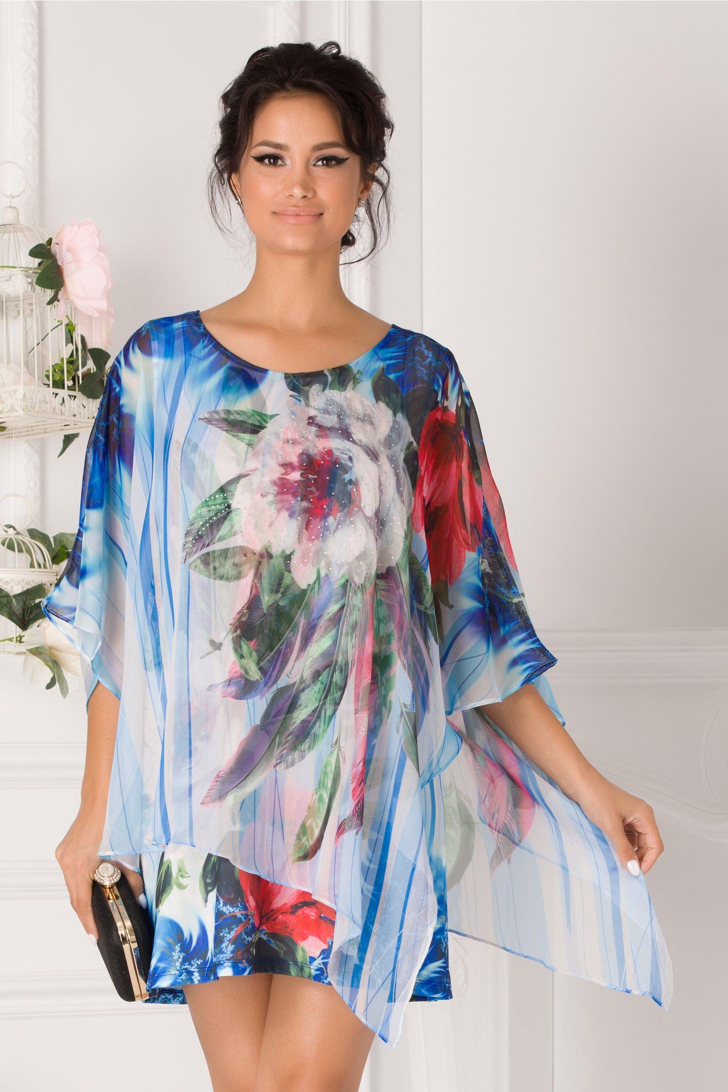 Bluza over size tip rochie albastra cu imprimeu floral