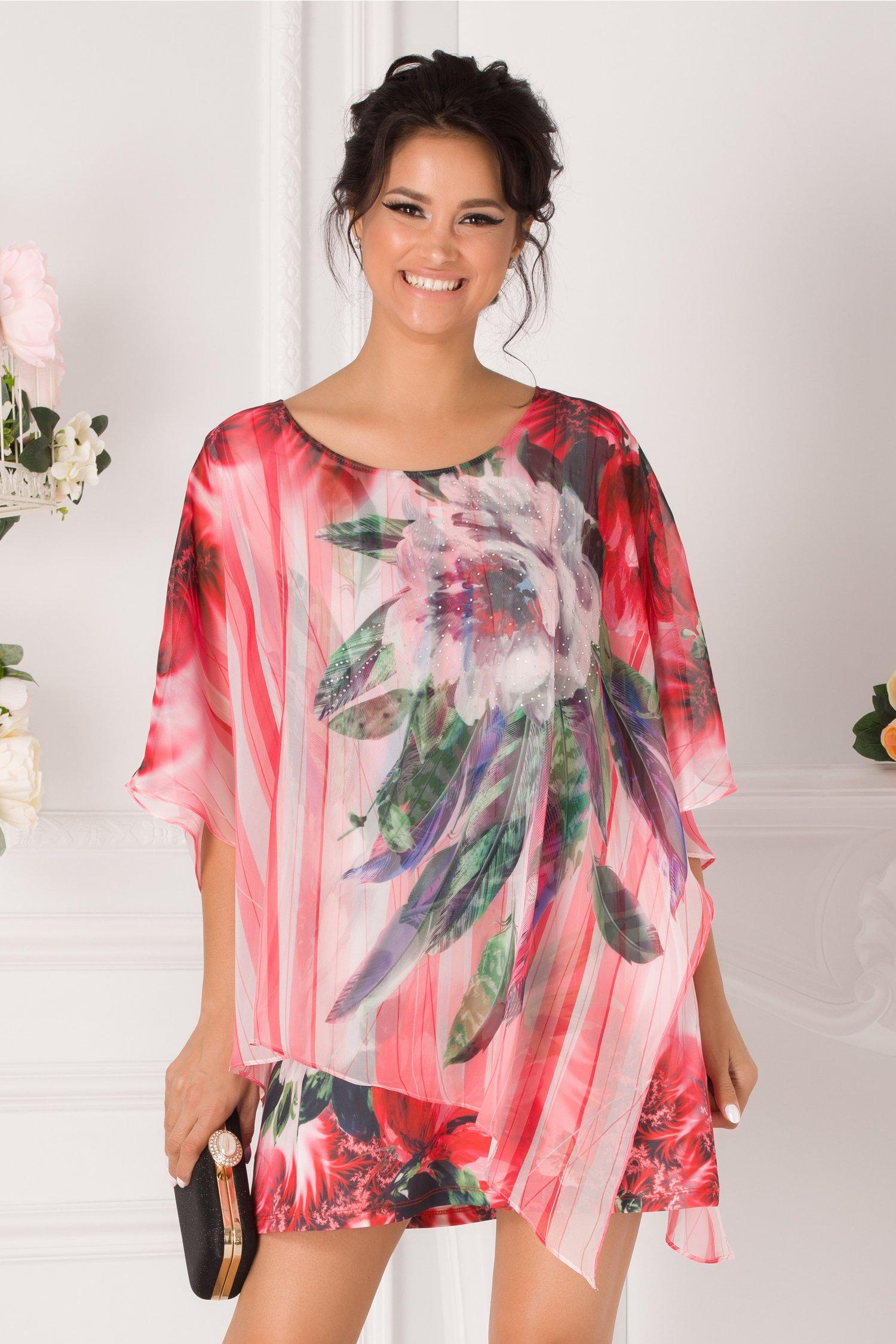 Bluza over size tip rochie corai cu imprimeu floral
