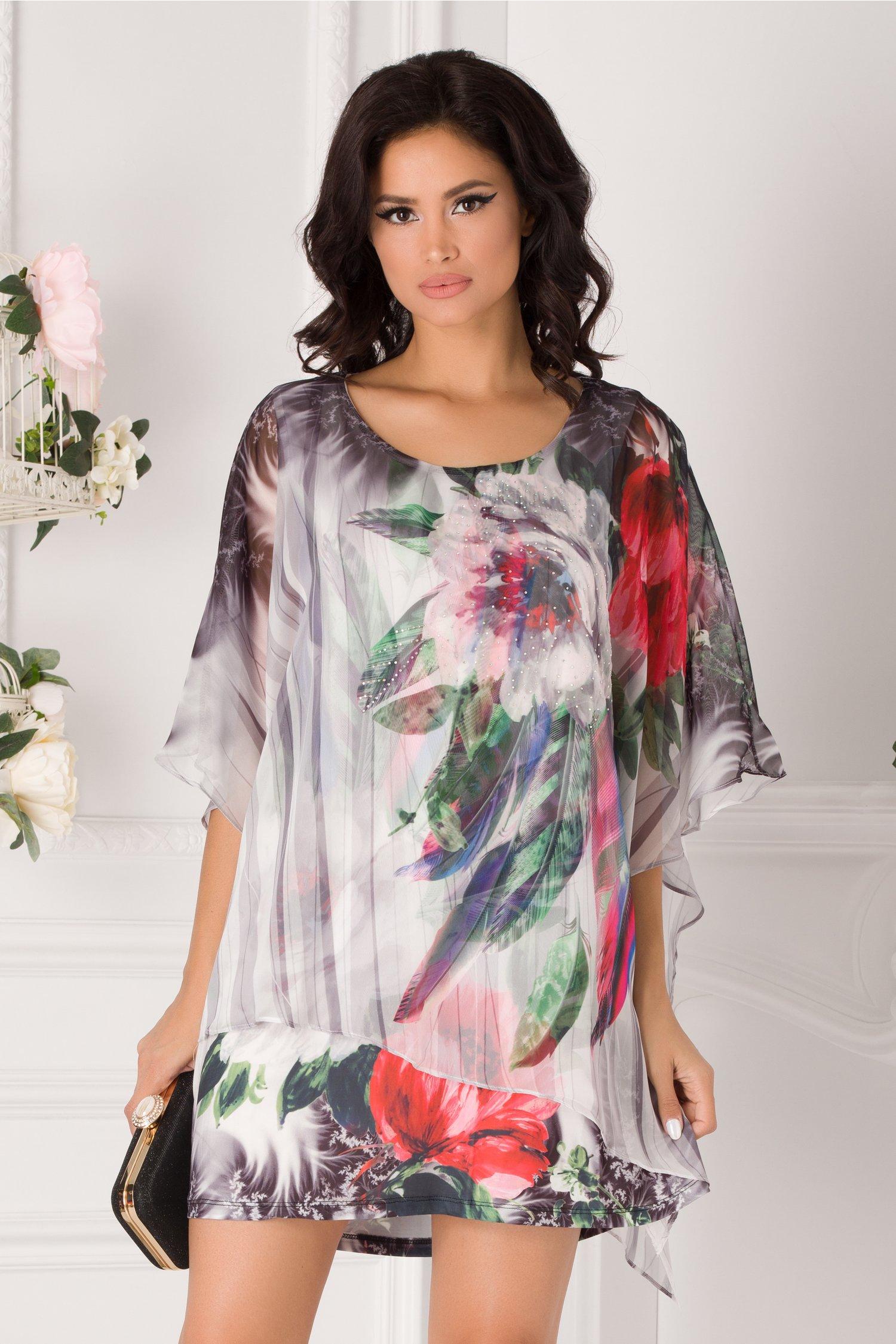 Bluza over size tip rochie gri cu imprimeu floral