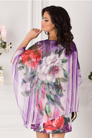 Bluza over size tip rochie mov cu imprimeu floral