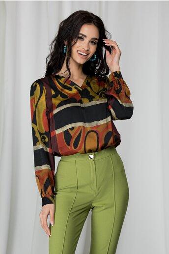 Bluza Paula maro cu imprimeu divers bordo