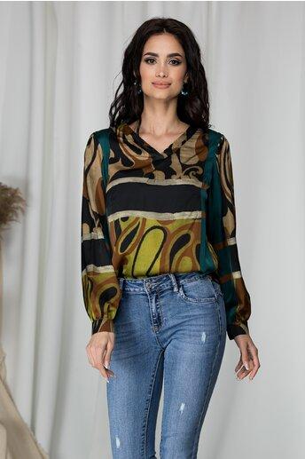 Bluza Paula maro cu imprimeu divers turcoaz