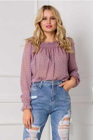 Bluza Pauline lila cu buline