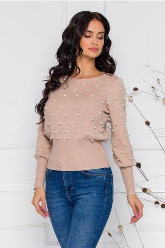 Bluza Pearl bej din tricort cu perlute aplicate