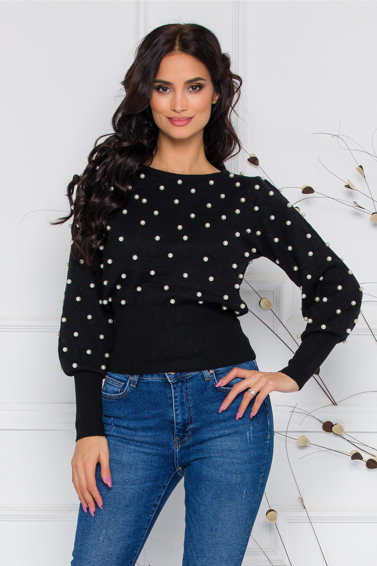 Bluza Pearl neagra din tricot cu perlute aplicate