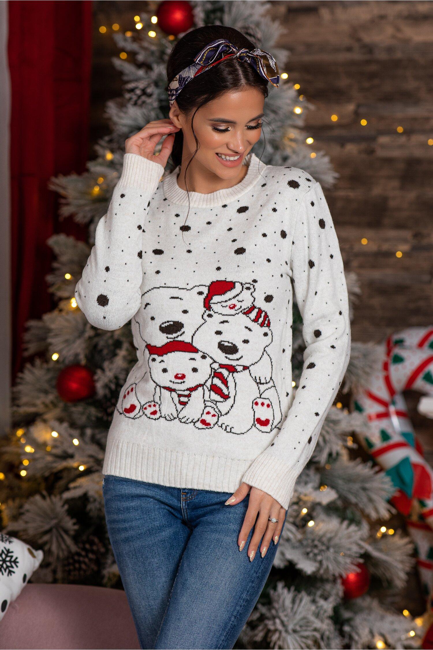 Bluza Polar Bear alba cu imprimeu de iarna Idei Cadouri de Craciun Online