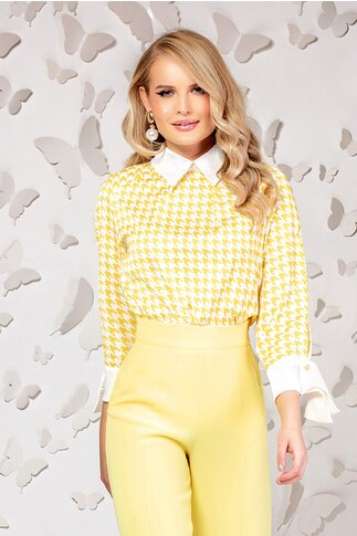 Bluza Pretty dama galbena cu guler și manșete oversize